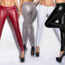 KouCla Leather Look Leggings Wet Look Trousers With Front Zip