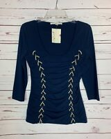 Boston Proper Women's S Small Navy Ruched 3/4 Sleeves Spring Top Shirt NEW TAGS
