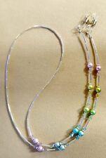 PASTEL RAINBOW CRYSTAL  Swarovski ELEMENTS  Eyeglass Chain Holder SILVER