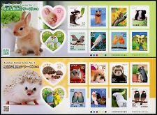 Japan 2016 Haustiere Hamster Vögel Hasen Igel Pets Birds Rabbits 8262-8281 MNH