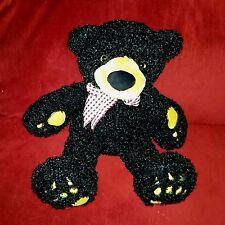 Walmart BLACK BEAR Fuzzy 15in Plush Burgundy White Checked Bow Gold Paw Pads