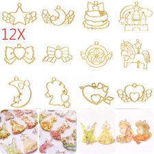 12Pcs/set Gold Zinc Alloy Key Open Bezel Pendant Frame Resin Blanks UV Crafts