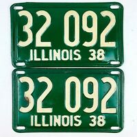 Illinois 1938 Vintage License Plate Pair Prewar High Quality Shorty Set Man Cave