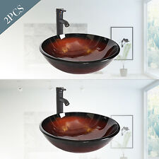 Set of 2 Bathroom Glass Vessel Sink Bowl Oil Rubbed Bronze Faucet Drain Combo
