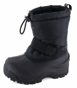 Kids Northside Girls Frosty Mid-Calf Pull On Snow Boots, Black, Size 1.0 HK1J