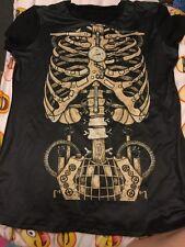 Women's Halloween Skeleton Bone Clock Work T-Shirt Small/Medium (Free Postage)