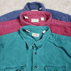 VTG LL Bean Button Shirt Men 20 Tall 80s Chamois Long Sleeve USA Pockets Cotton