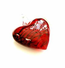 "Red Puffy Heart Glass Pendant with Hole New 4 x 2.5 x 0.5"" DIY making"