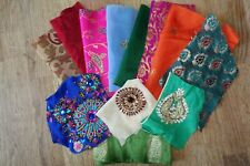Indian shiny embellished fabric remnants silks swatches 100g  SKU16320