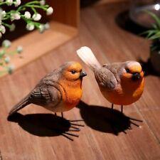 2 x Resin Robin Bird Garden Ornament Patio Door Pond  Figurine Decor