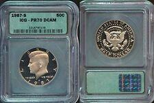 1987-S ICG  KENNEDY HALF DOLLAR  PR70 DCAM   (336)  A BEAUTIFUL FROSTY COIN