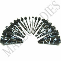 V052 Acrylic Black Marble Stretchers Tapers Expanders All Sizes Gauges & Kit