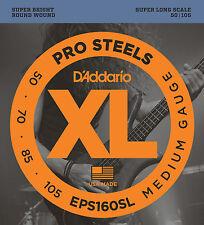 D'Addario EPS160SL ProSteels Bass Guitar Strings, Medium, 50-105, Super Long  Sc