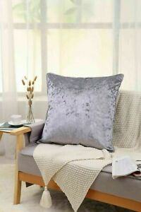 New Plain Luxury Crushed Velvet Cushion Cover With Piped Edges 45 x 45 cm SILVER