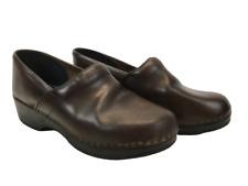 L.L. Bean Womens Clogs Brown Leather Slip On Comfort Occupational Nurse Sz US 9