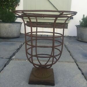 Vintage Rusted Metal Planter Garden Urn Plant Pot Stand Weathered Decorative