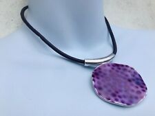 CAPIZ LOVELY CORD SCULPTED METAL DISC PURPLE LAQUER INLAY AZTEC ETHNIC NECKLACE