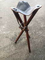 Hunting Tripod 73cm Stool Wooden Folding Chair Leather Seat Camping Fishing