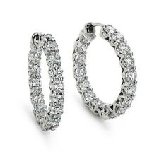 F/VS 1.00Ct Round Diamond U Claw Set Hoop Earrings in 18k White Gold