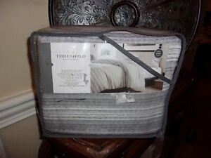 NIP Threshold Abstract Stripe Gray Yarn Dyed King Duvet Cover & Shams 3pc