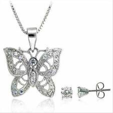 925 Silver CZ Filigree Butterfly Pendant & Stud Earrings Set