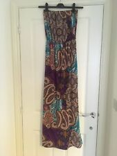 NEW LOOK Brightly Coloured Paisley Print Strapless Maxi Dress Size 8