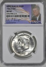1964 D Denver Kennedy Half First Year of Issue Holder NGC MS 64