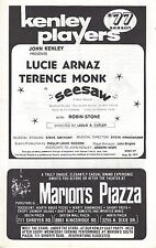 """Lucie Arnaz """"SEESAW"""" Terence Monk / Cy Coleman / Dorothy Fields 1977 Playbill"""