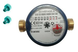"""Single-Jet Cold Water Meter 1/2"""" BSP (15mm) with Push-on Hose Fittings :: Garden"""