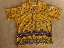 966b74f0 Mens Yellow Hawaiian Shirt Vintage Car Woody Beach XL 100% Rayon Korea