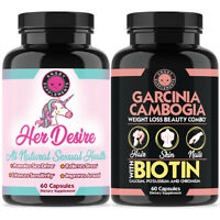 Her Desire Womens Sexual Enhancement Booster + Garcinia Cambogia- Biotin 2-Pack