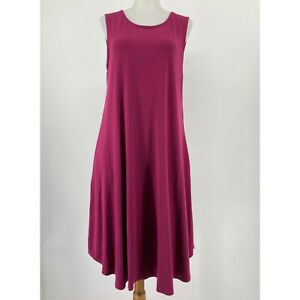 Eileen Fisher Dress Sleeveless Knit Swing Stretch Maroon Pockets Size Medium