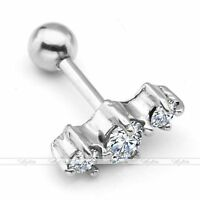 Pair 316L 16G Surgical Steel  Gem Tragus Cartilage Piercing Stud Bar Ear Ring