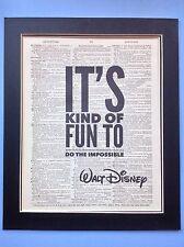 WALT DISNEY il tipo di divertimento.. impossibile IDEA REGALO antico Dizionario pagina ARTE