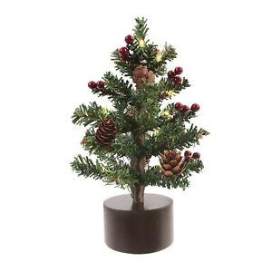 "Philips LED Mini Xmas Tree Light Berries & Pinecones Novelty 8"" Battery Operated"