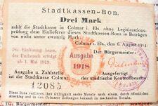 ANCIEN BILLET RARE - STADTKASSEN-BON  COLMAR  1918 - DREI MARK