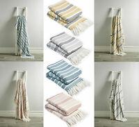 Zara Stripes 100% Cotton Throws Super Soft Warm Luxury Sofa & Bed Woven Blankets
