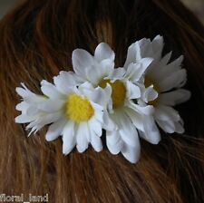 Silk Artificial Wedding White Daisy Hair Piece Fascinator Clip Flowers Flower