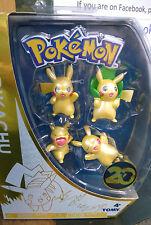 Pokemon 4 Different Pikachu figures In Box  20th Anniversary Ltd Edition Boxed