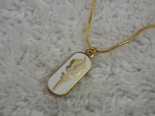 LDS Mormon Church Gold/White Girl on Fire Torch Pendant Necklace (D76)