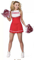 Adult HIGH SCHOOL CHEERLEADER Red Ladies Fancy Dress Costume UK Size 10-12 Small