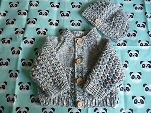 "Hand Knitted Baby Cardigan & Hat Set 18"" ~  Boy ~ Blue mix  ~  3 months +"