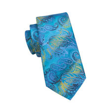 IVAN TROY Blue Paisley Italian Silk Jacquard Woven Mens Tie With Cufflinks