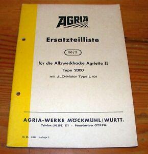 Agria 2000 Agriette II  Ilo 101 Ersatzteilliste ETL Teileliste teilekatalog