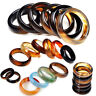 Wholesale Lot 5/10/20/30/50/100Pcs Colorful Agate Gemstone Rings Fashion Jewelry