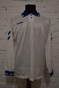 VINTAGE HUMMEL 80S 90S FOOTBALL SHIRT SOCCER JERSEY LONG SLEEVE MENS M WHITE