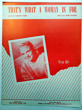 PEGGY LEE Sheet Music THAT'S WHAT A WOMAN IS FOR Weiss & Barry Publ. 50's VOCAL