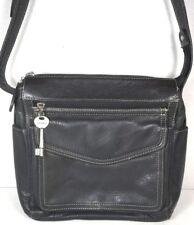 Fossil Vintage Black Leather Multi Pocket Shoulder Bag