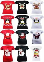 New Ladies Women's Novelty Print Girls Christmas XMAS Vintage Retro T-Shirt 8-26