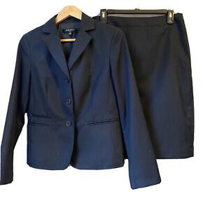 Nine West Suit Womens Size 8 Black dark Blazer Jacket Skirt Suit Set good cond